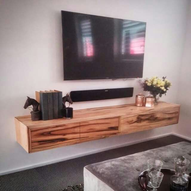 Love the idea of a stand alone tv w/ floating rustic shelf beneath