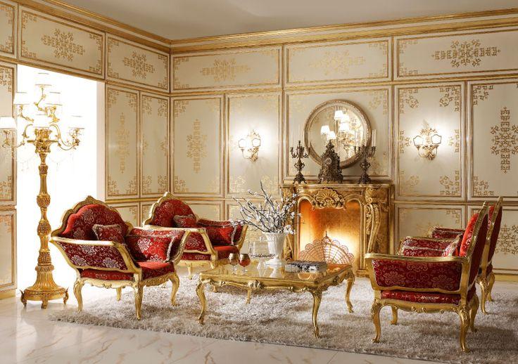 Italian Classic Luxury Wooden Living Room Furniture | set: 733 armchair (L04 - S07) cm. 140 x 85 x 118 h. of qty. - 2;  733/P pouf (L04 - S07) cm. 104 x 78 x 165 h. of qty. - 1 with a coffee table as seen in applied art | for dissimilitude: https://www.pinterest.com/pin/368943394455270814/