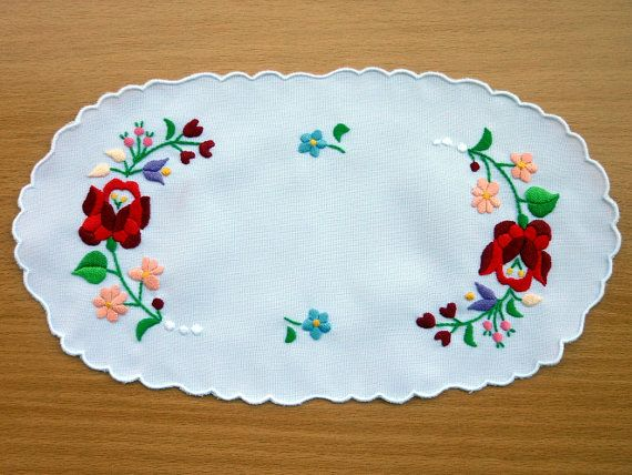 Traditional Hungarian Kalocsa embroidery doilies by kalocsa, $14.00