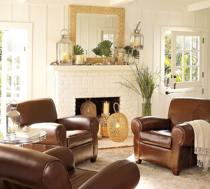 Classic Living Room With White Brick Fireplace And Brown Leather Sofa On Cream Rug Combined Gold Chandelier Adorable Pottery Barn Rooms Bring