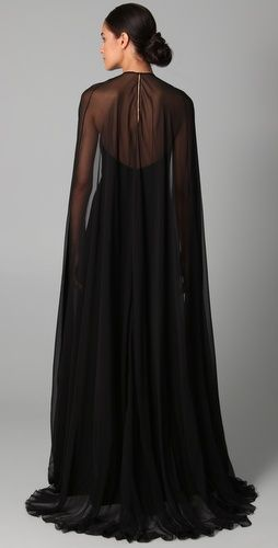 Reem Acra--Halter Gown with Chiffon Cape (Back of Batman Dress).  See what I mean?! It's a little Phantom of the Opera, or something.