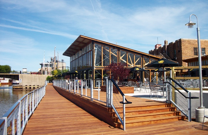 2012 AIA Wisconsin Merit Award: The Horny Goat Entertainment Complex, Milwaukee, designed by Rinka Chung Architecture Inc. – a refreshing renovation and expansion  of a brew pub into an authentic destination in the heart of the city's industrial riverfront.