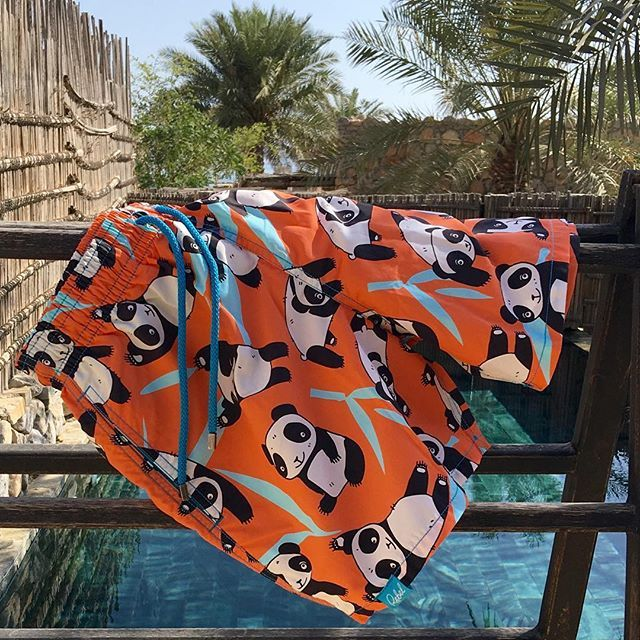 A pair of our Giant Panda beach shorts drying in the sun! #MyRebelSwims #conservation  Get your pair: www.rebelswim.com
