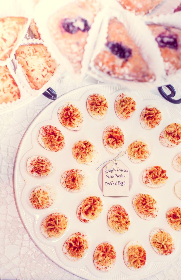 girl book brunch baby shower food deviled eggs scones