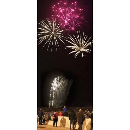 Spectators watching colourful fireworks display at nighttime South Shields Tyne and Wear England Canvas Art - John Short Design Pics (10 x 23)