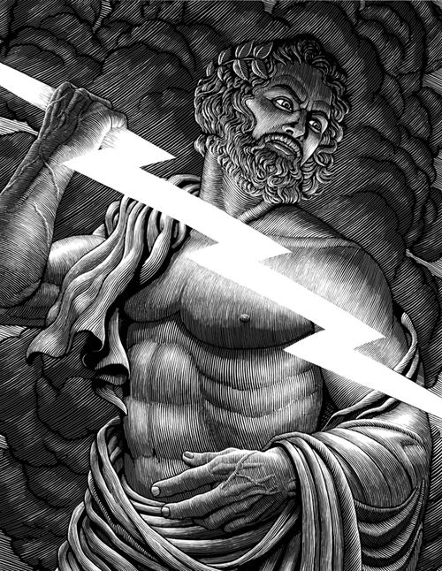 Zeus Jupiter Lightening. Scratchboard Drawings Through Time and Lives. See more art and information about Douglas Smith, Press the Image.