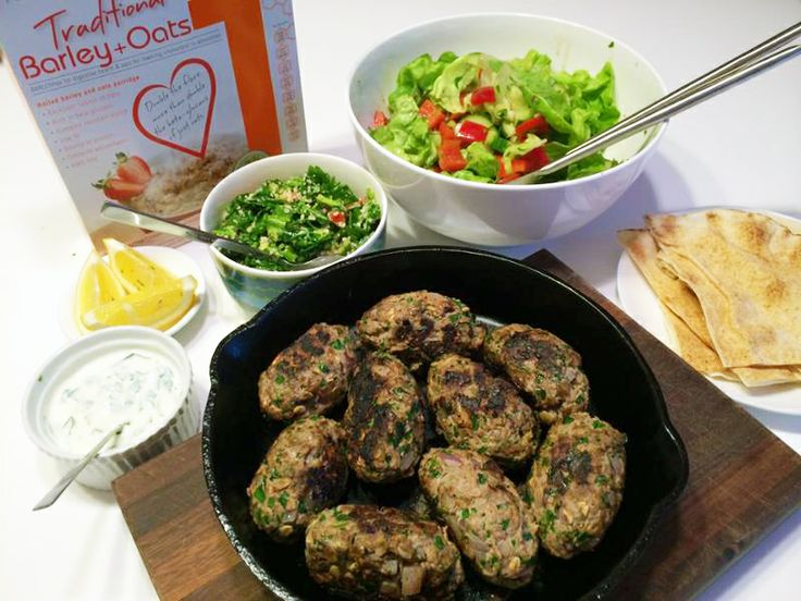 Kate's Kibbeh-style lamb meatballs: full of parsley, rolled oats and barley, red onion and middle eastern spices. Pan fry in a bit of olive oil and serve with tabouleh and yoghurt. Yum!