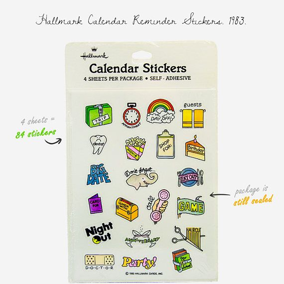 Vintage Calendar Reminder Stickers 1983 / 4 sticker sheets /