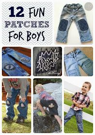 Patch holes in boys jeans