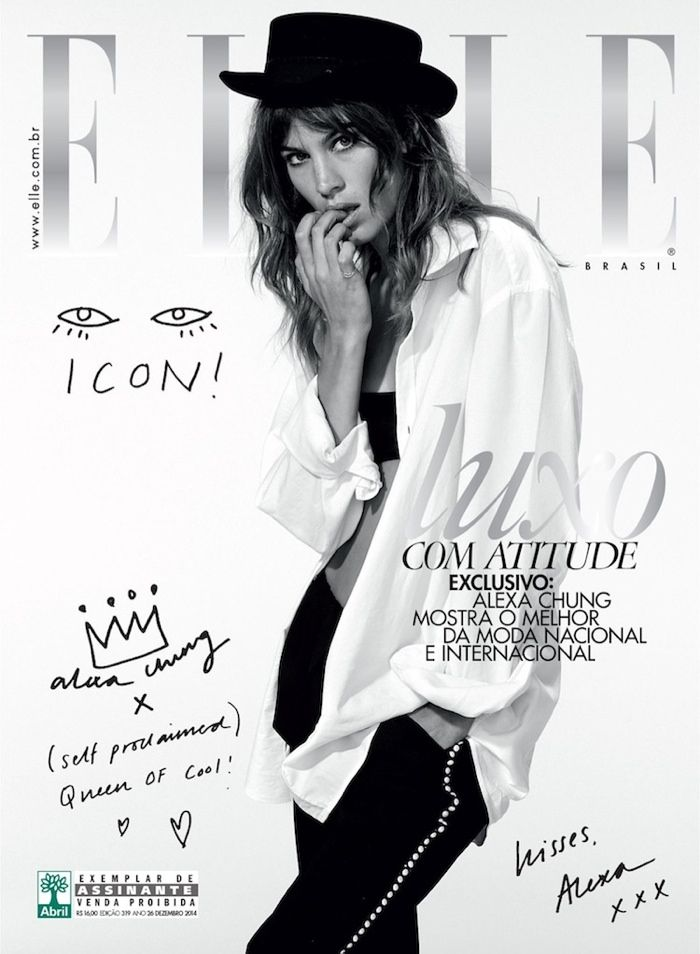 Alexa Chung Rocks Denim on Elle Brazil December 2014 Cover