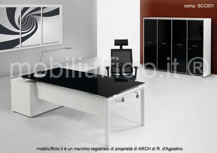 comp. SCC001 #arredamento #ufficio #direzionale con #scrivania in appoggio su mobile di servizio e #mobile #archivio con ante in alluminio/vetro retro-laccato nero.