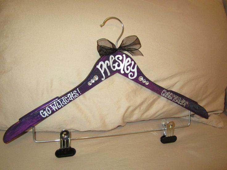 custom painted hangers for CHEERLEADERS, dance teams, pom squads, and drill teams. $9.75, via Etsy.