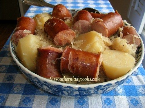 This easy crock pot recipe is one your family will love. Sausage, Sauerkraut and Potatoes go together to make this easy dish.