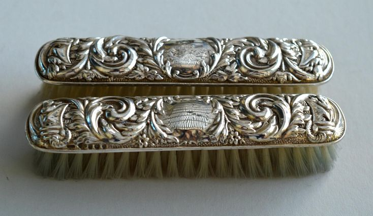 Set of 2 Vintage Sterling Silver Repousse Vanity Brushes