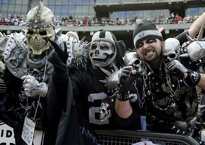 "The Raider Nation is known for its ""black hole"", a specific section of the McAfee Coliseum (Sections  104, 105, 106, and 107) frequented by the rowdiest and most fervent fans. No surprise at the fans ""outlaw"" costumes when the team's 70-80's players included  ""The Assassin"" (Jack Tatum), ""Doctor Death"" (Skip Thomas), ""Snake"" (Ken Stabler) and ""The Mad Stork"" (Ted Hendricks). (Chuck Noll, former Steeler's coach once described the Raider defensive backs as a ""criminal element."")"