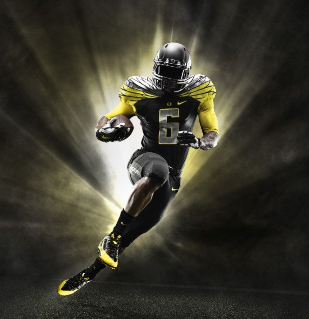 2014 Oregon Ducks Black and Yellow Nike Mach Speed Uniform