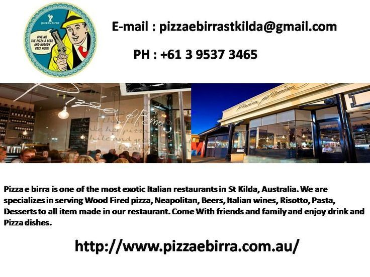 Known as one of the best Italian restaurants in St Kilda, Pizza e Birra is a family style best restaurant that offering the many dishes of Italian cuisine.