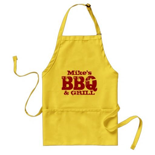 #Personalised name BBQ apron for men   Red yellow
