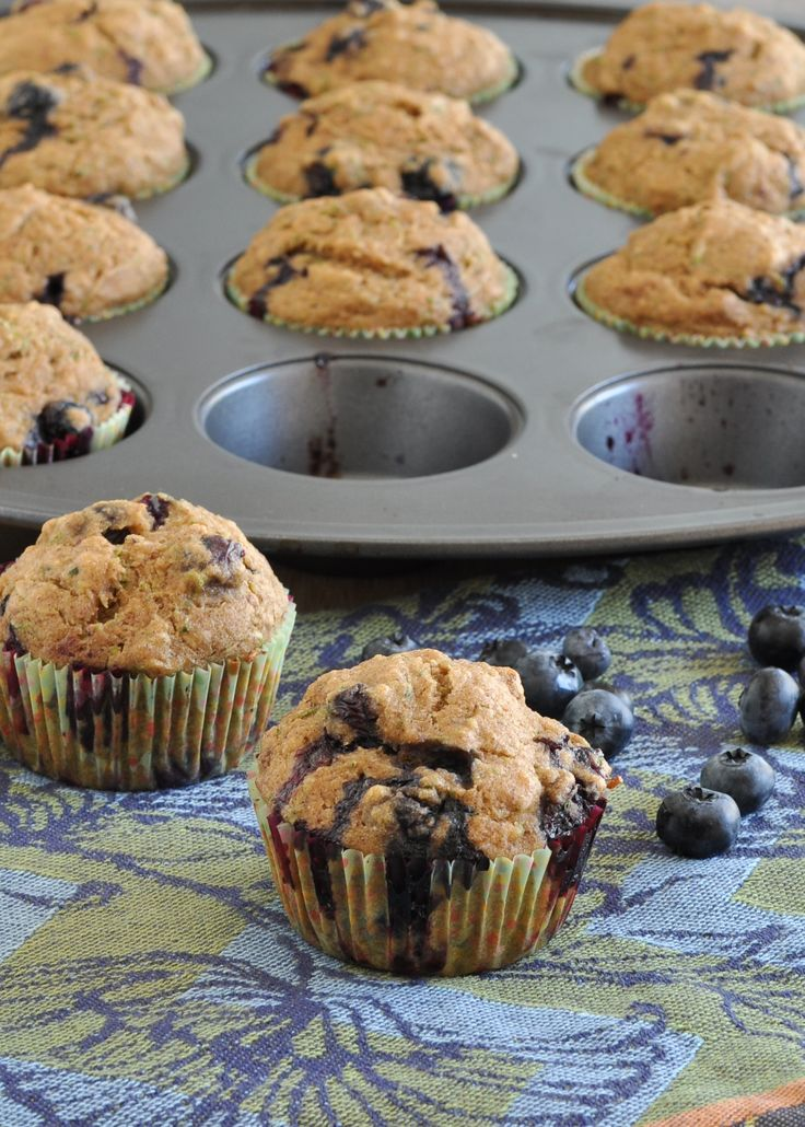 Blueberry Zucchini Muffins are perfect for lunches or after-school snacks. Packed with zucchini, applesauce, cinnamon and of course blueberries.