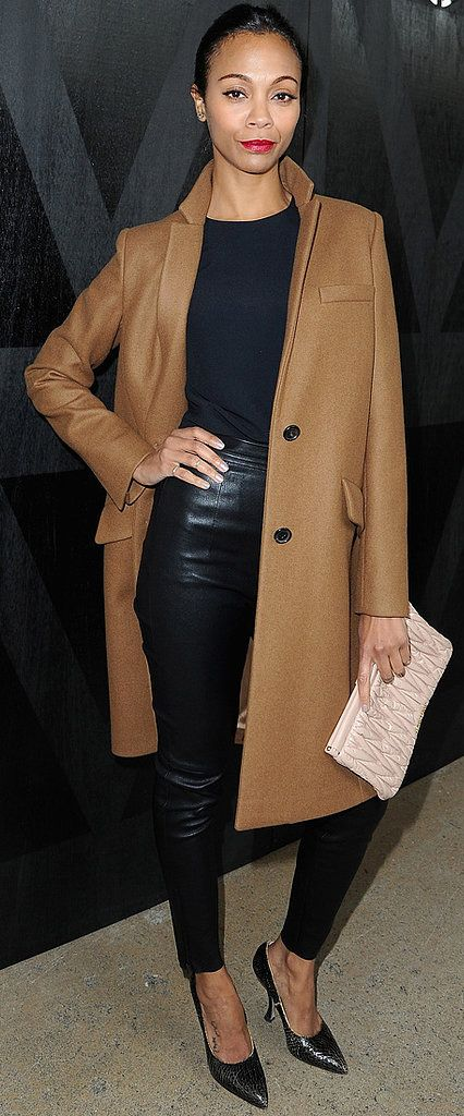 Zoe Saldana's camel pop looks especially sharp paired with an all-black outfit @jen Inumerable (That face though, haha)!