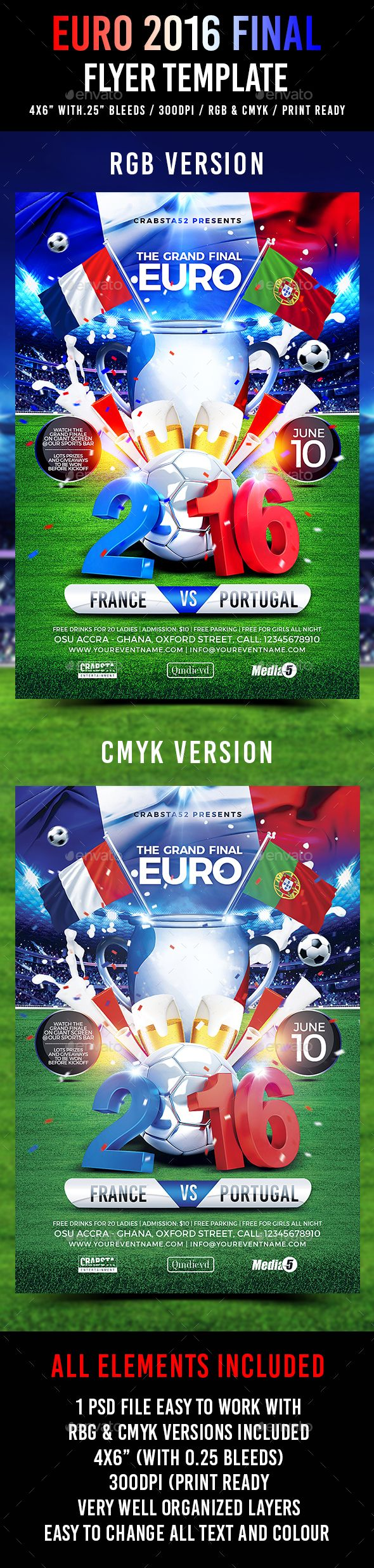Euro 2016 Final Flyer Template — Photoshop PSD #euro cup 2016 #template • Available here → https://graphicriver.net/item/euro-2016-final-flyer-template/16867228?ref=pxcr
