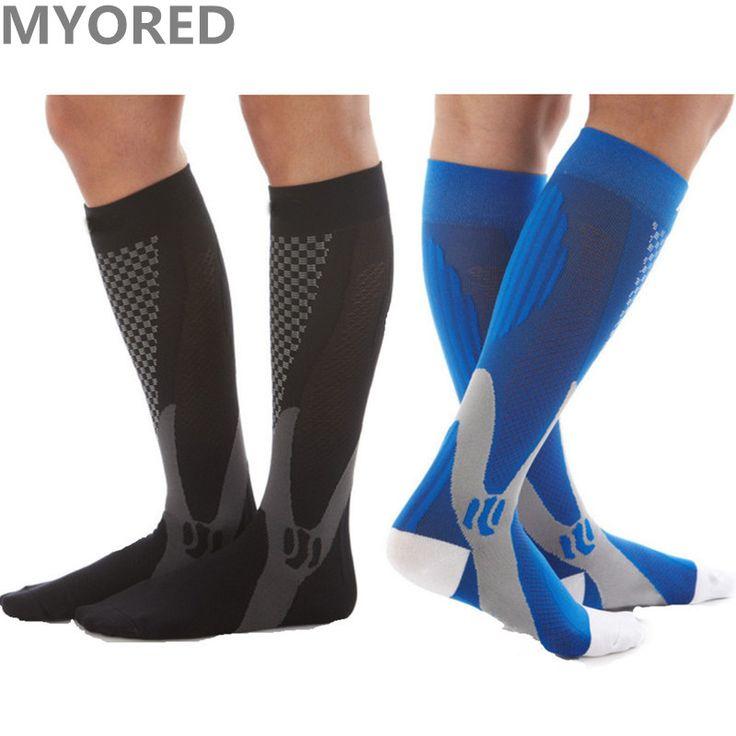 MYORED brand new men unisex compression socks high quality unisex knee high Leg Support Stretch nylon Pressure Circulation sock