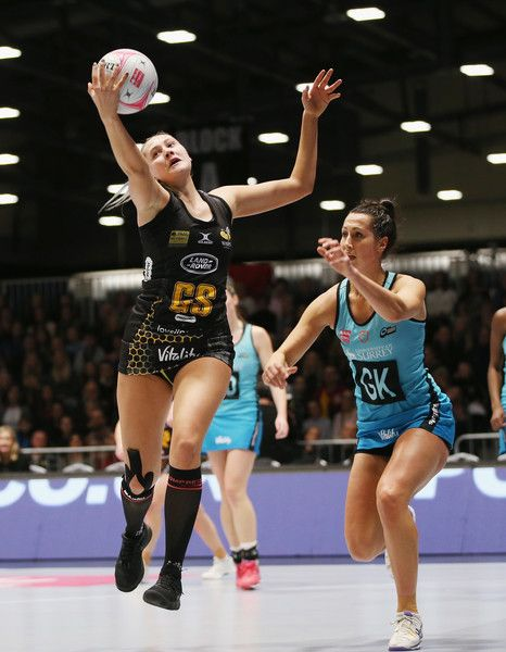 George Fisher of Wasps and Jo Trip of Surrey Storm during the Vitality Netball Superleague match between Wasps Netball and Surrey Storm at Ricoh Arena on February 10, 2018 in Coventry, England.