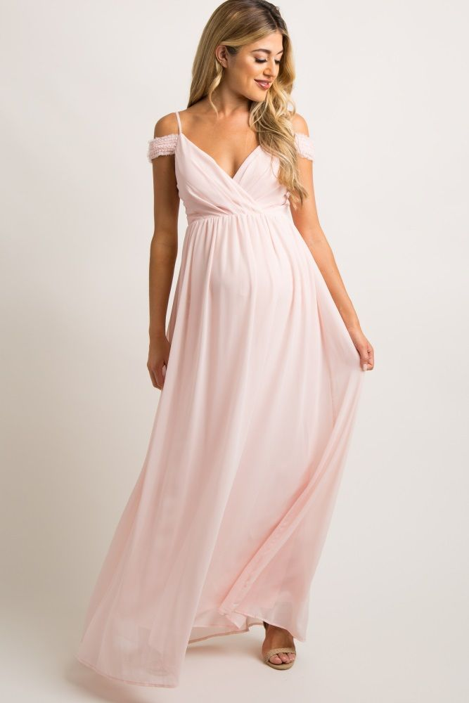 24148ba750 Pink Beaded Off Shoulder Chiffon Maternity Gown | Maternity Photos ...