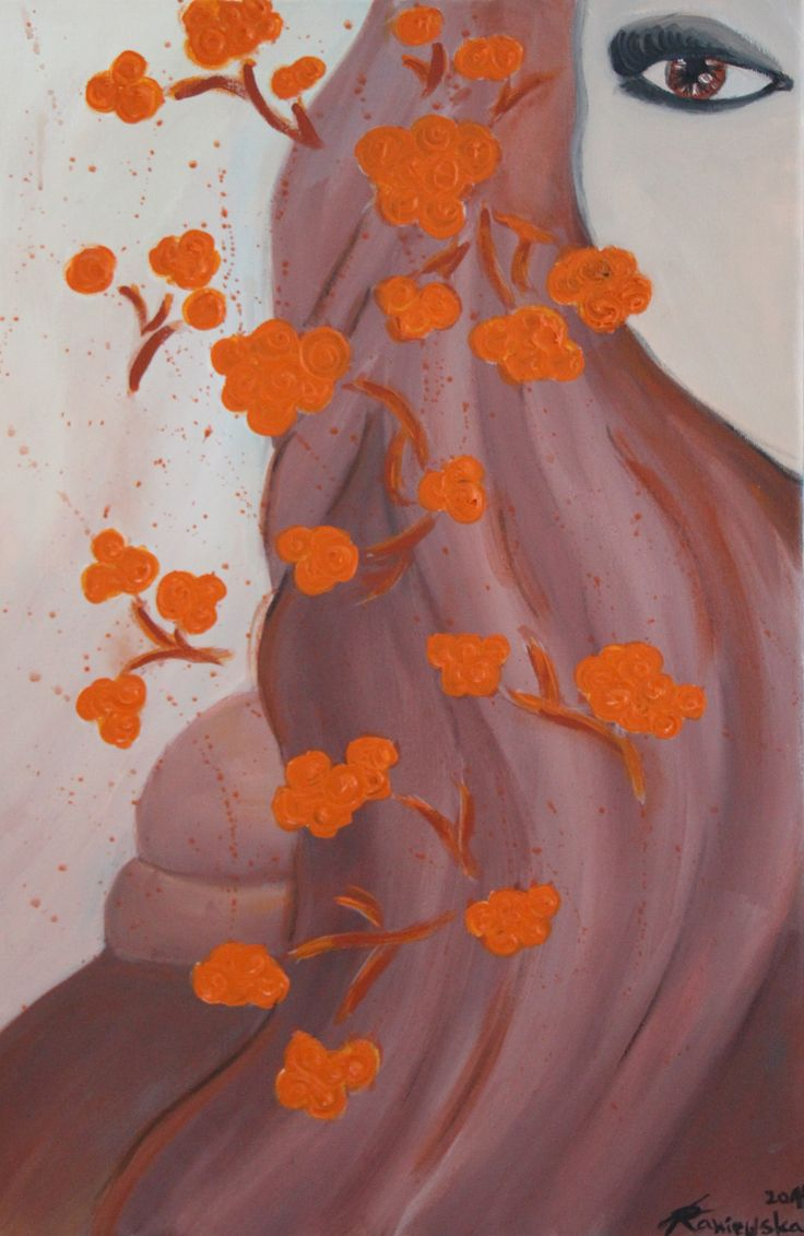 Girl with orange flower ( 40x60 , Akryl)