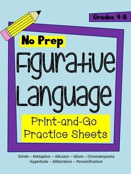 This package includes 8 practice sheets to help your students understand figurative language.  Practice sheets include:-simile-metaphor-allusion-idiom-personification-hyperbole-alliteration-onomatopoeiaEach page includes a definition of the term, an example, and an activity.