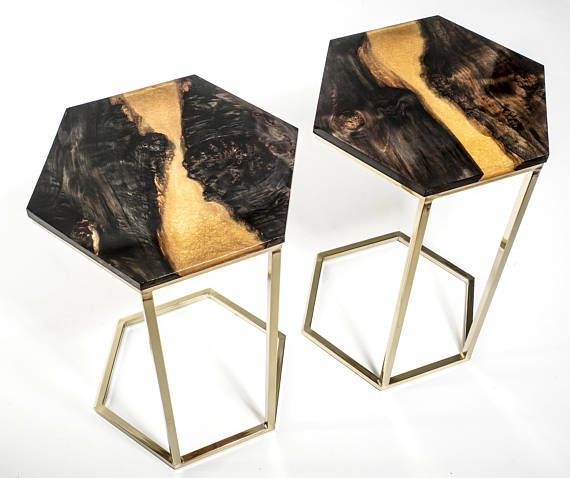 Ebonized Maple Gold Resin River Octagonal Modern C Table Pair