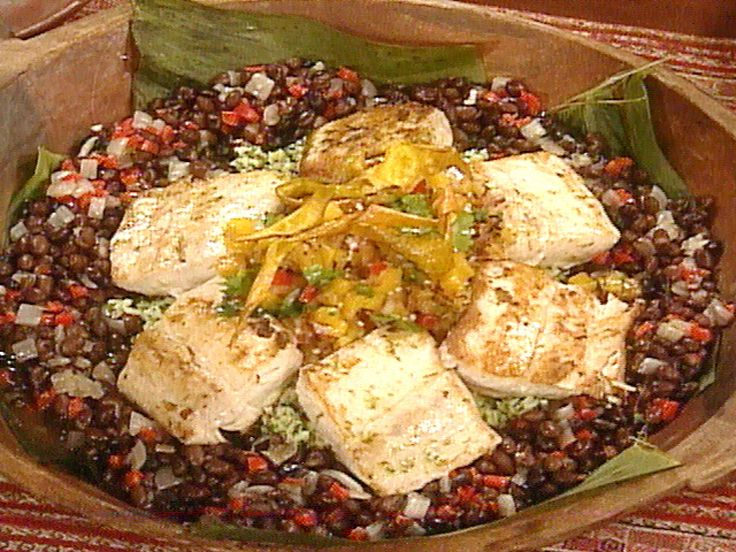 Get this all-star, easy-to-follow Seared Mahi Mahi with Grilled Mango-Pineapple Salsa, Green Rice, and Black Beans recipe from Sara's Secrets