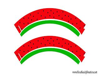 Watermelon Cupcake Wrapper free printable for summer BBQ or summer picnic