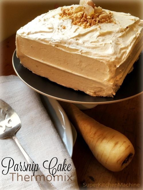 this #Thermomix Parsnip Cake #recipe has candied ginger & buttery peanut frosting