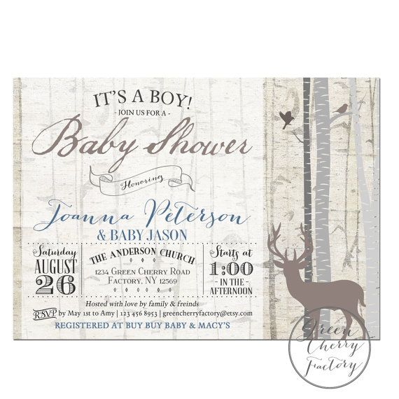 rustic woodland baby shower invitation by