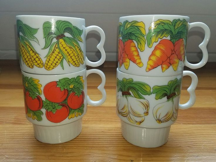 Retro Mod Vegetables Stacking Coffee Mugs Set Of 4 Japan Carrots Corn Vintage