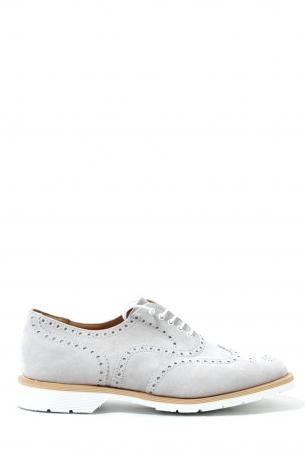 Solovair Man Shoes - off-white 5 eye brogue shoe - suede shoes made ​​in England. White color. Dovetail brogue model. Rubber sole. Leather interior. Solovair Collection Spring Summer 2013.