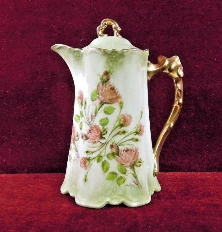 Limoges China Tea Chocolate Pot Gilded Roses Embossed
