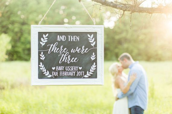 And Then There Were Three  Baby Announcement Chalkboard Sign by BeauTiedAffair