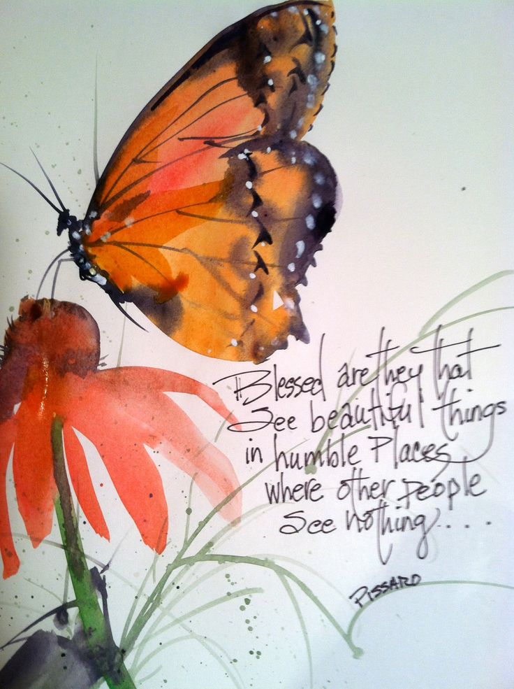 Print of original watercolor, butterfly on Echanacea flower... the joys of summer.. a quote by Pissaro ...8x10 matted to 11x14