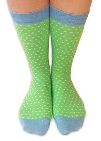 Pastel green women's polka-dot socks by Doris and Dude. Made from bamboo!