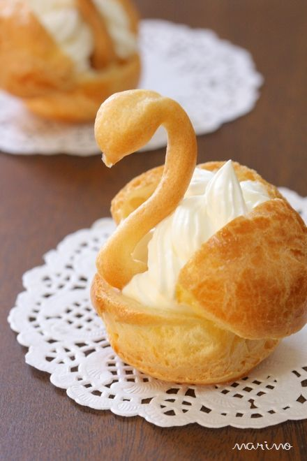 Cream puff swans are perfect for elegant tea parties!