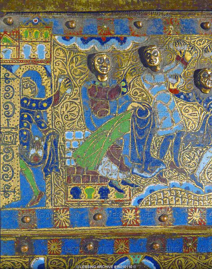 "https://flic.kr/p/azMfh9 | The lapidation of Saint Stephen, detail | The lapidation of Saint Stephen. Detail of the ""Scenes of the lapidation of Saint Stephen"" on the Reliquary of Saint Stephen (last quarter 12th)  Limoges enamel  Overall size: 25 x 28 x 11 cm Gimel-les-Cascades, Eglise Saint-Priest © Lessing Archive"