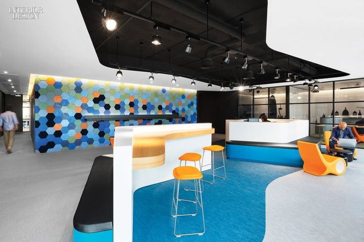 Microsoft Office - Breakout Area,  Barcelona, Spain. Standout: Embossed ceramic wall tiles replicate Antoni Gaudí's reliefs on local sidewalks, while the tile colors allude to the Mediterranean, also nearby.