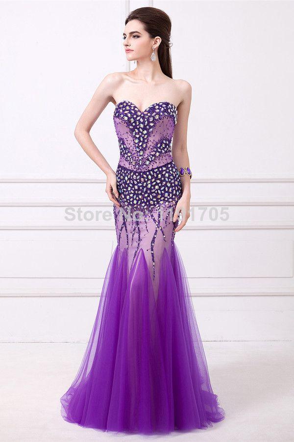 Free shipping Elegant Strapless Beaded Purple Prom dress 2014 Mermaid Floor Length Evening Gowns 2014 New Fashion $189.00