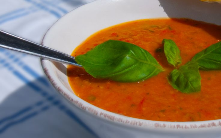 Creamy Healthy Tomato Soup With Grilled Red Peppers – Served with Parmesan Sticks