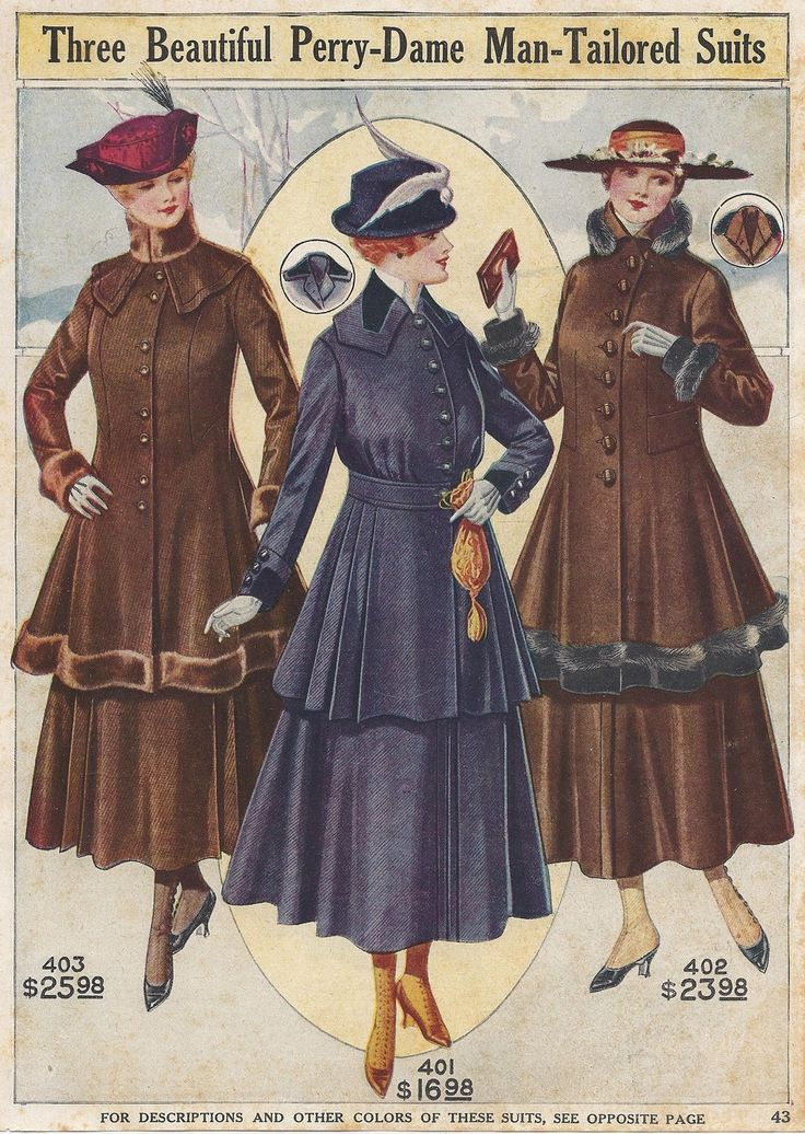1917 Man-Tailored Suits became popular for women when they began working more when men were at war.