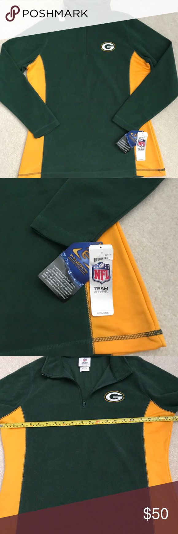 """Green Bay Packers Fleece-RUNS SMALL Green Bay Packers fleece jacket which has never been worn and still has all of the tags attached as well as the NFL hologram sticker. Features a half zipper closure. The only part of the jacket which is not fleece are the two side panels. These are a deep yellow and have a stretch to them which makes layering and movement easier. The Packer logo is embroidered on the front. Authentic NFL apparel. Sleeve length 24"""", bust 21"""". Please see photos for the…"""