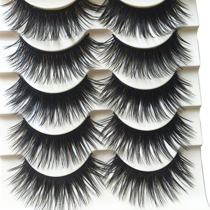 """Polytree 5 Pairs Black Long Thick Eyelashes Fake Cross Makeup Eye Lash Extension. These eyelashes are made by high quality which can match your casual and party makeup. Very soft and comfortable to wear. They can be removed by eye makeup remover. Can be reused when applied with care. Material: Synthetic Fibers; Eyelash Infarction Material: Plastic. Length: 1.6cm/0.63"""" (Approx.)."""
