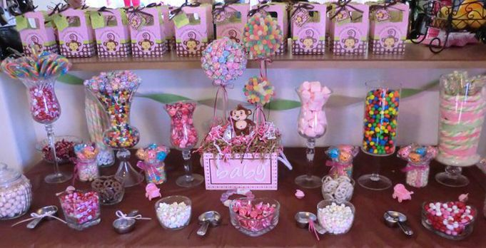 Baby shower candy buffet ideas http www - Baby shower monkey decorations for a girl ...